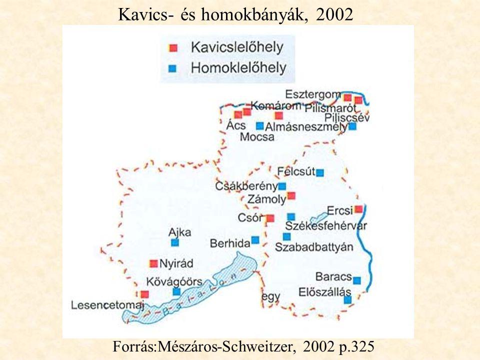 Kavics- és homokbányák, 2002 Forrás:Mészáros-Schweitzer, 2002 p.325