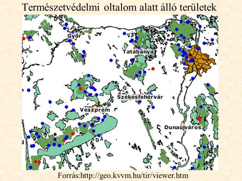 Természetvédelmi oltalom alatt álló területek Forrás:http://geo.kvvm.hu/tir/viewer.htm