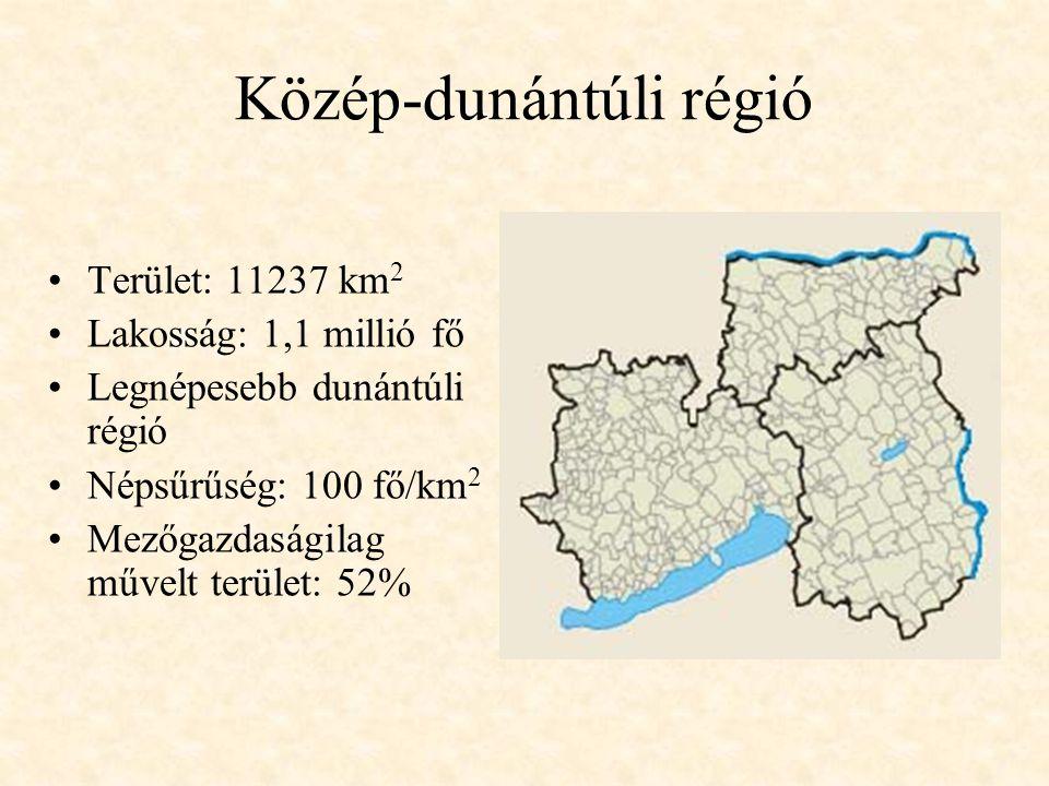 Közép-dunántúli régió Terület: 11237 km 2 Lakosság: 1,1 millió fő Legnépesebb dunántúli régió Népsűrűség: 100 fő/km 2 Mezőgazdaságilag művelt terület: 52%