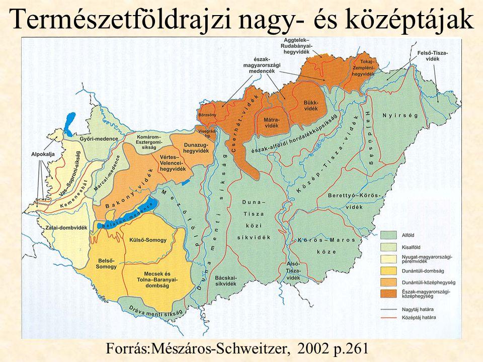Természetföldrajzi nagy- és középtájak Forrás:Mészáros-Schweitzer, 2002 p.261