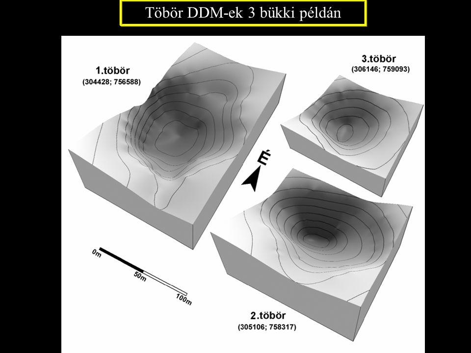 Töbör DDM-ek 3 bükki példán