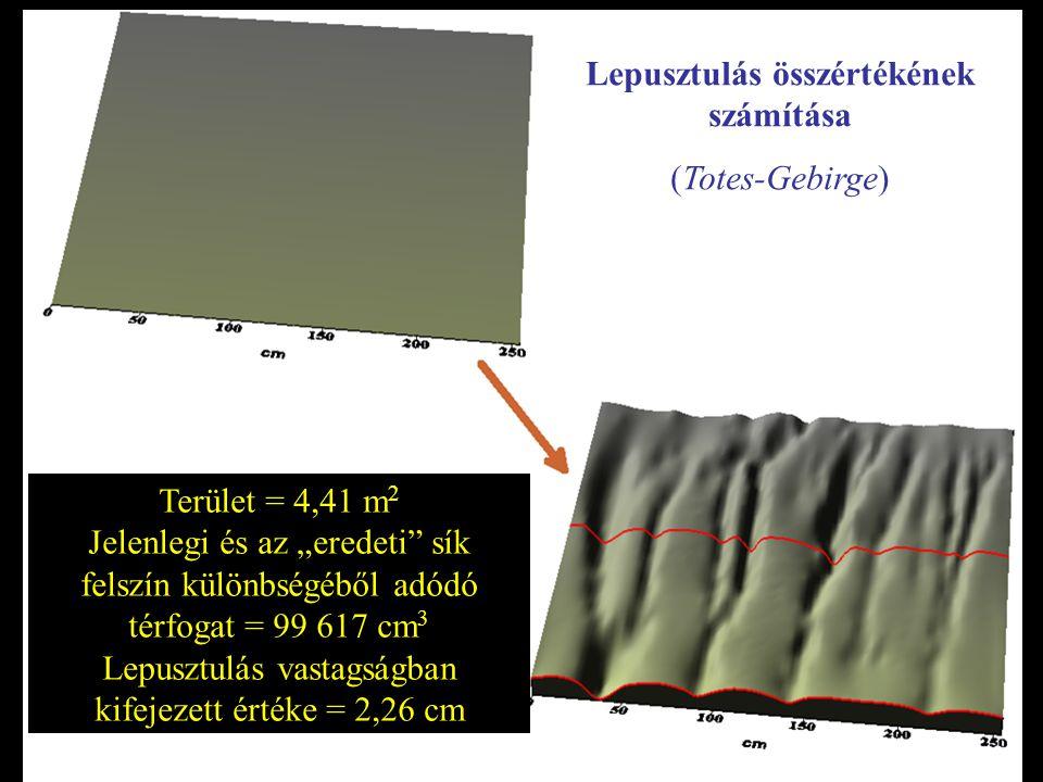 """Terület = 4,41 m 2 Jelenlegi és az """"eredeti sík felszín különbségéből adódó térfogat = 99 617 cm 3 Lepusztulás vastagságban kifejezett értéke = 2,26 cm Lepusztulás összértékének számítása (Totes-Gebirge)"""