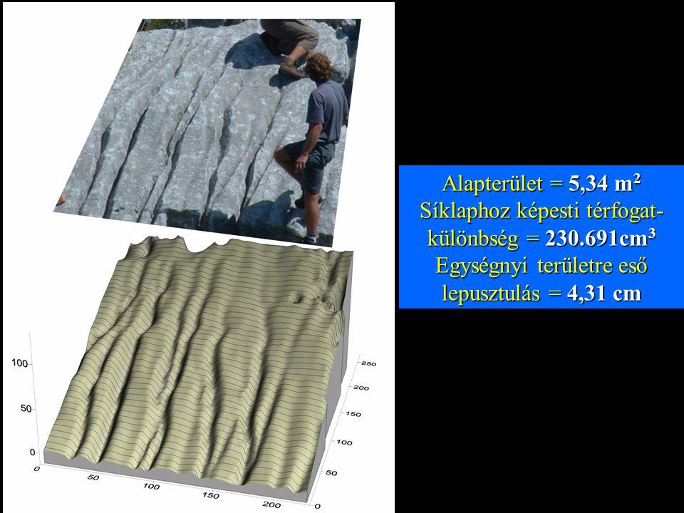 Alapterület = 5,34 m 2 Síklaphoz képesti térfogat- különbség = 230.691cm 3 Egységnyi területre eső lepusztulás = 4,31 cm