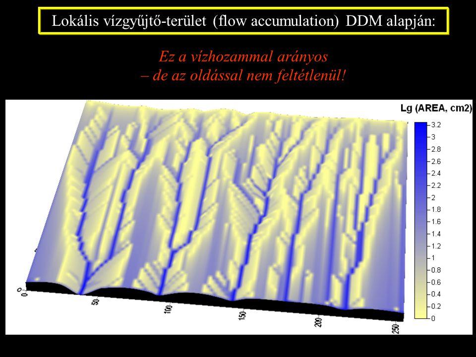 Lokális vízgyűjtő-terület (flow accumulation) DDM alapján: Ez a vízhozammal arányos – de az oldással nem feltétlenül!