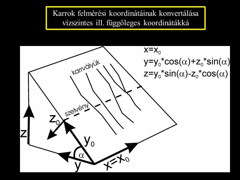 Karrok felmérési koordinátáinak konvertálása vízszintes ill. függőleges koordinátákká