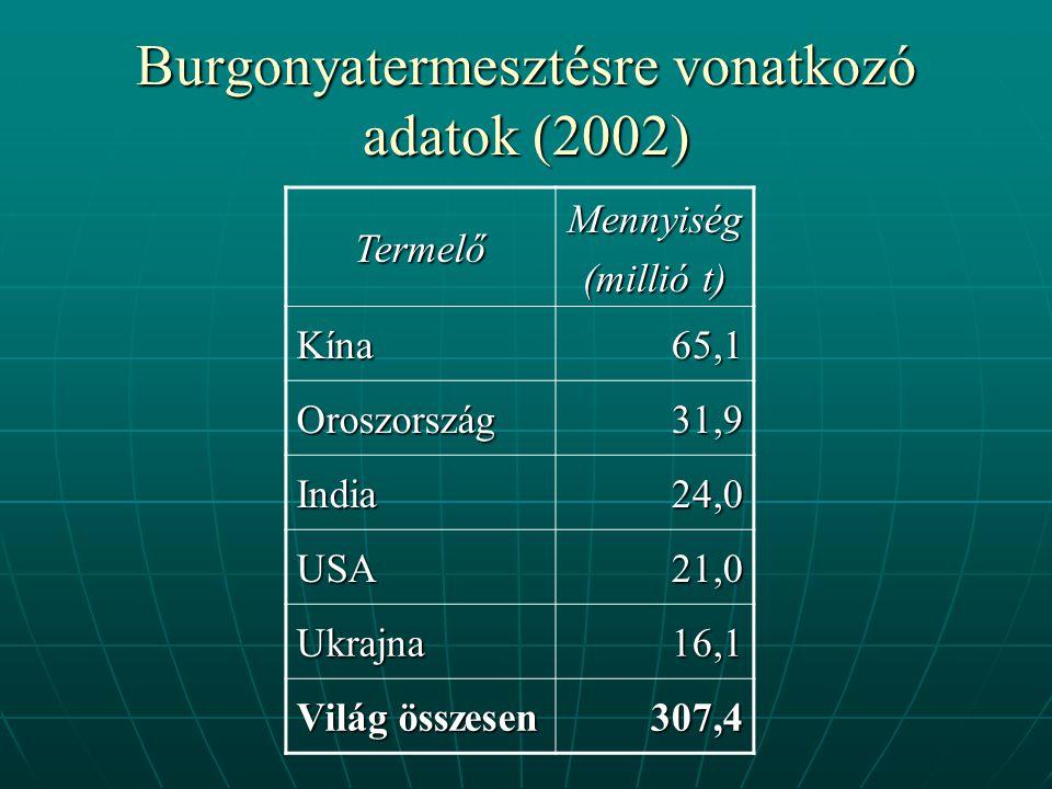 Burgonyatermesztésre vonatkozó adatok (2002) TermelőMennyiség (millió t) Kína65,1 Oroszország31,9 India24,0 USA21,0 Ukrajna16,1 Világ összesen 307,4