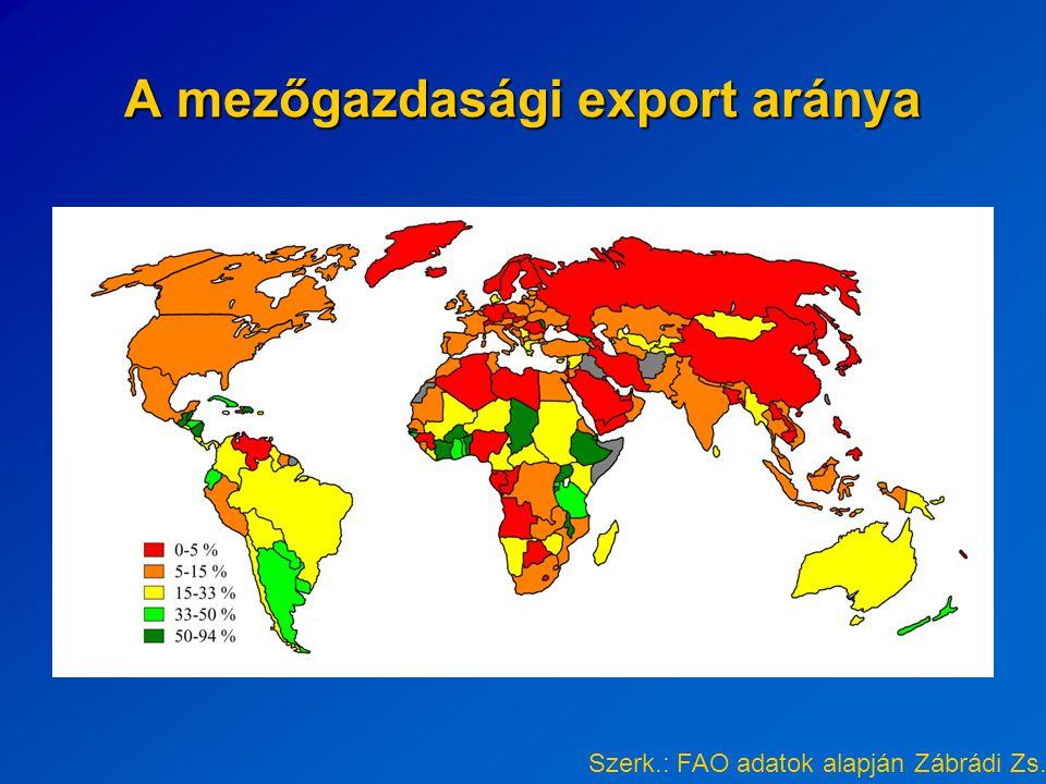 Az USA búzaexportjának célországai 2003 Forrás: http://www.fao.org/es/ess/watf.asp