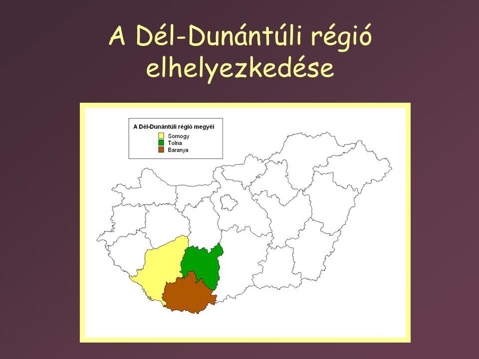 A Dél-Dunántúli régió elhelyezkedése