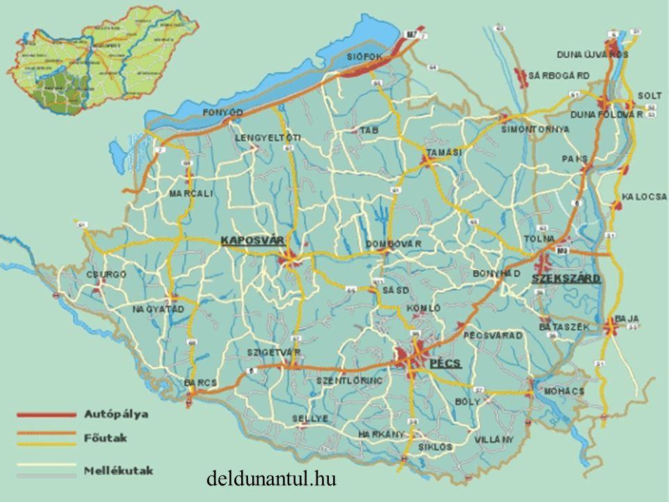 Közút: fő tengely a 6-os, 7-es főváros elérése nemzetközi tranzit Másodrendűek: városok száma nőtt -> feladataikat csak részben tudják ellátni Kistérségek: fő közlekedési út távolsága Probléma: főutak