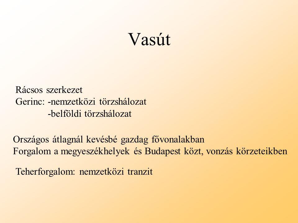 Vasút Rácsos szerkezet Gerinc: -nemzetközi törzshálozat -belföldi törzshálozat Országos átlagnál kevésbé gazdag fővonalakban Forgalom a megyeszékhelye