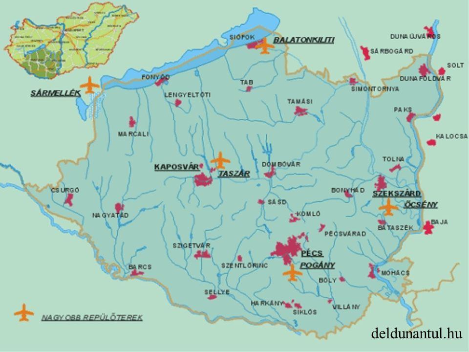 Vízi Természeti adottságok kedvezőek (Duna, Dráva, Sió, Balaton) Hiányos infrastruktúra: kikötöi, szuprastruktúra, logisztikai központok Vasúti kapcsolat: Mohácsnál és Paksnál Folyami kikötők Kis fajlagos értékű rakomány Vizisport, turisztika