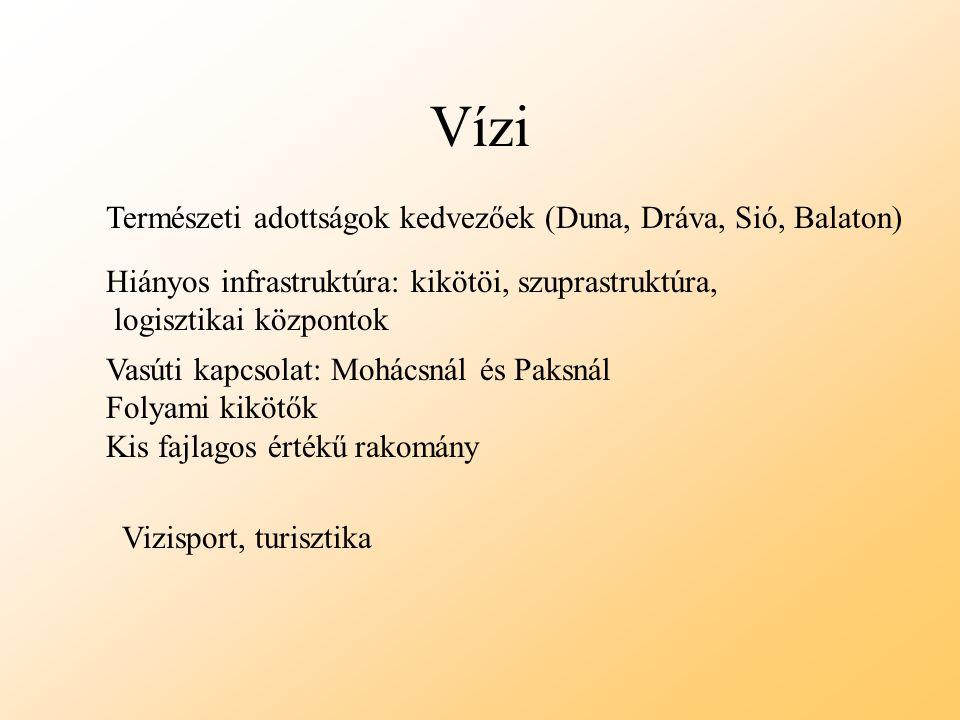 Vízi Természeti adottságok kedvezőek (Duna, Dráva, Sió, Balaton) Hiányos infrastruktúra: kikötöi, szuprastruktúra, logisztikai központok Vasúti kapcso