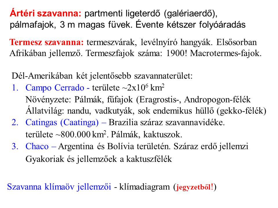 Ártéri szavanna: partmenti ligeterdő (galériaerdő), pálmafajok, 3 m magas füvek.