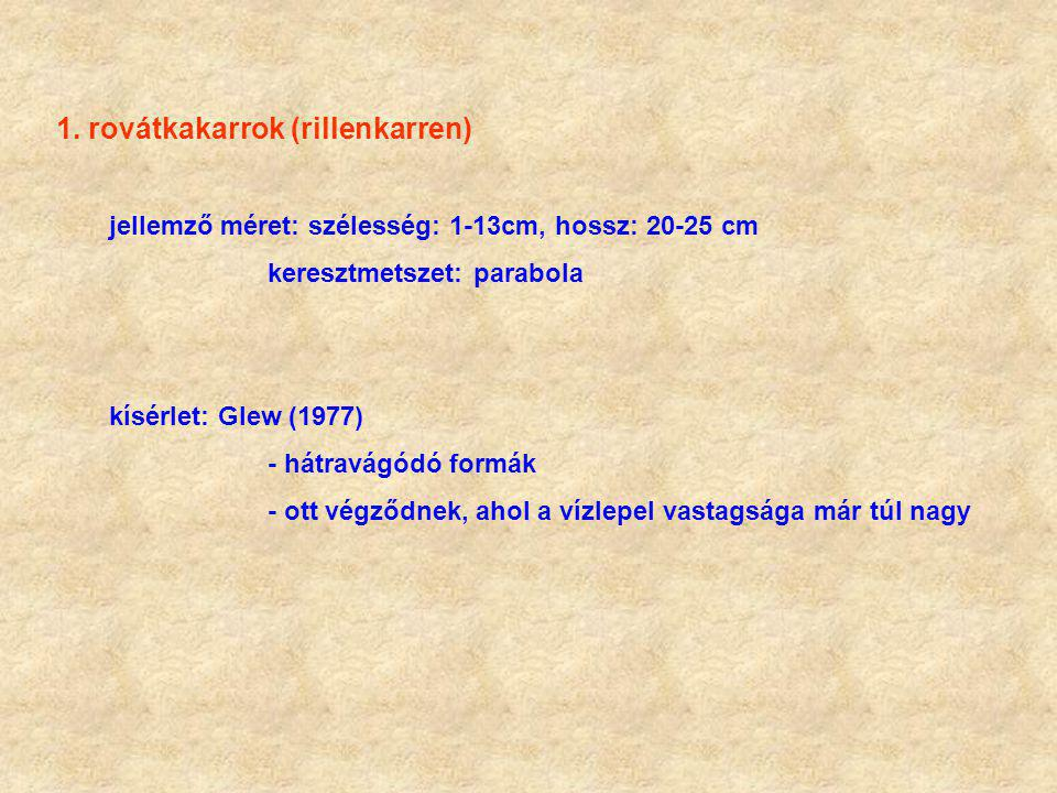 1. rovátkakarrok (rillenkarren) jellemző méret: szélesség: 1-13cm, hossz: 20-25 cm keresztmetszet: parabola kísérlet: Glew (1977) - hátravágódó formák