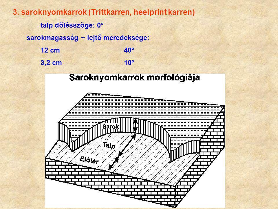 3. saroknyomkarrok (Trittkarren, heelprint karren) talp dőlésszöge: 0° sarokmagasság ~ lejtő meredeksége: 12 cm40° 3,2 cm10°