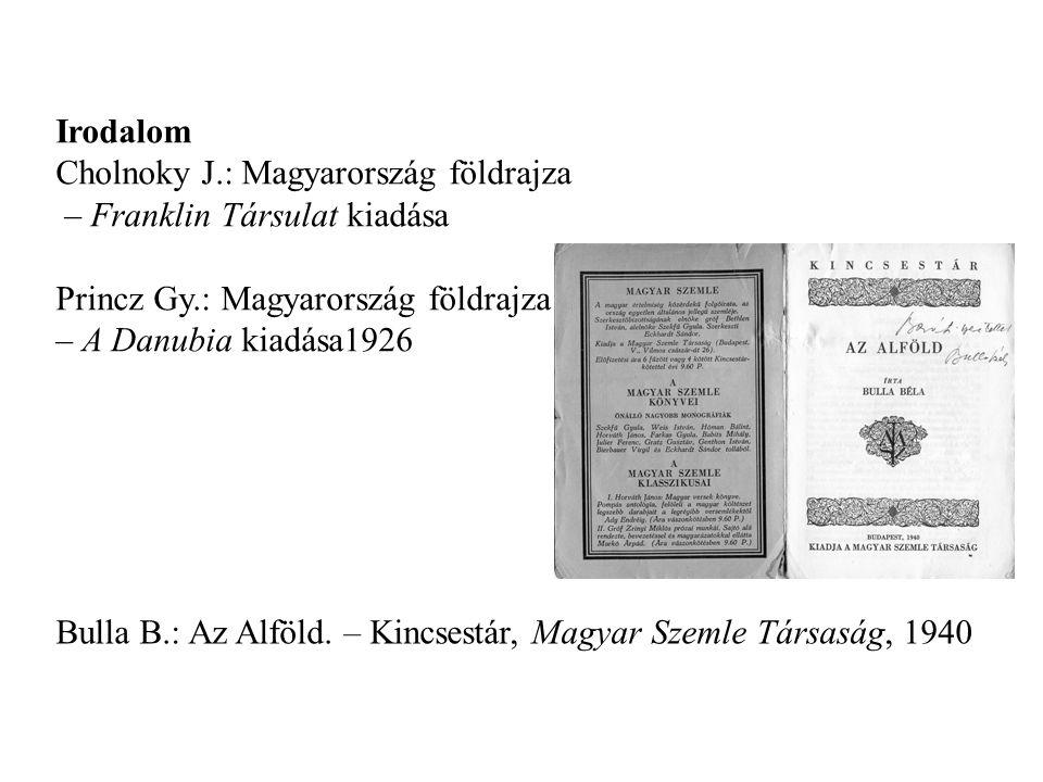 Bulla B.– Mendöl T.: A Kárpát-medence földrajza. – Országos Köznevelési Tanács, 1947 Bulla B.