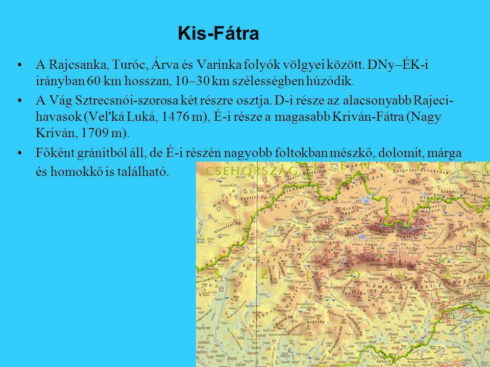 Kis-Fátra A Rajcsanka, Turóc, Árva és Varinka folyók völgyei között.