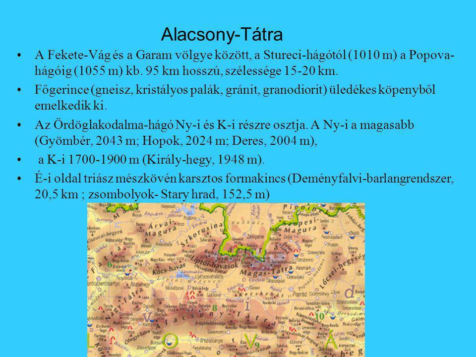 Alacsony-Tátra A Fekete-Vág és a Garam völgye között, a Stureci-hágótól (1010 m) a Popova- hágóig (1055 m) kb. 95 km hosszú, szélessége 15-20 km. Főge
