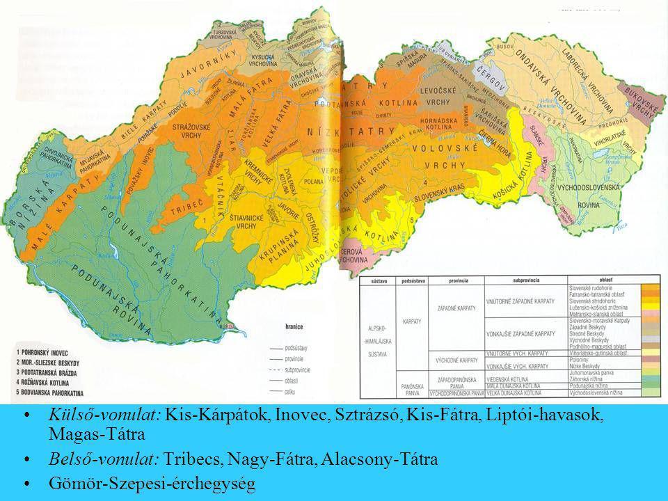 Külső-vonulat: Kis-Kárpátok, Inovec, Sztrázsó, Kis-Fátra, Liptói-havasok, Magas-Tátra Belső-vonulat: Tribecs, Nagy-Fátra, Alacsony-Tátra Gömör-Szepesi-érchegység