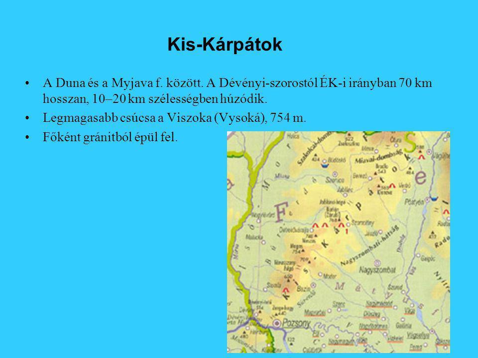 Kis-Kárpátok A Duna és a Myjava f. között. A Dévényi-szorostól ÉK-i irányban 70 km hosszan, 10–20 km szélességben húzódik. Legmagasabb csúcsa a Viszok