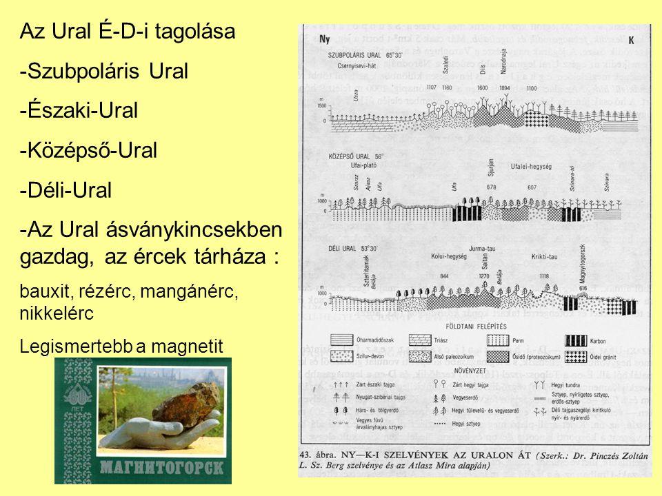 Az Ural É-D-i tagolása -Szubpoláris Ural -Északi-Ural -Középső-Ural -Déli-Ural -Az Ural ásványkincsekben gazdag, az ércek tárháza : bauxit, rézérc, ma