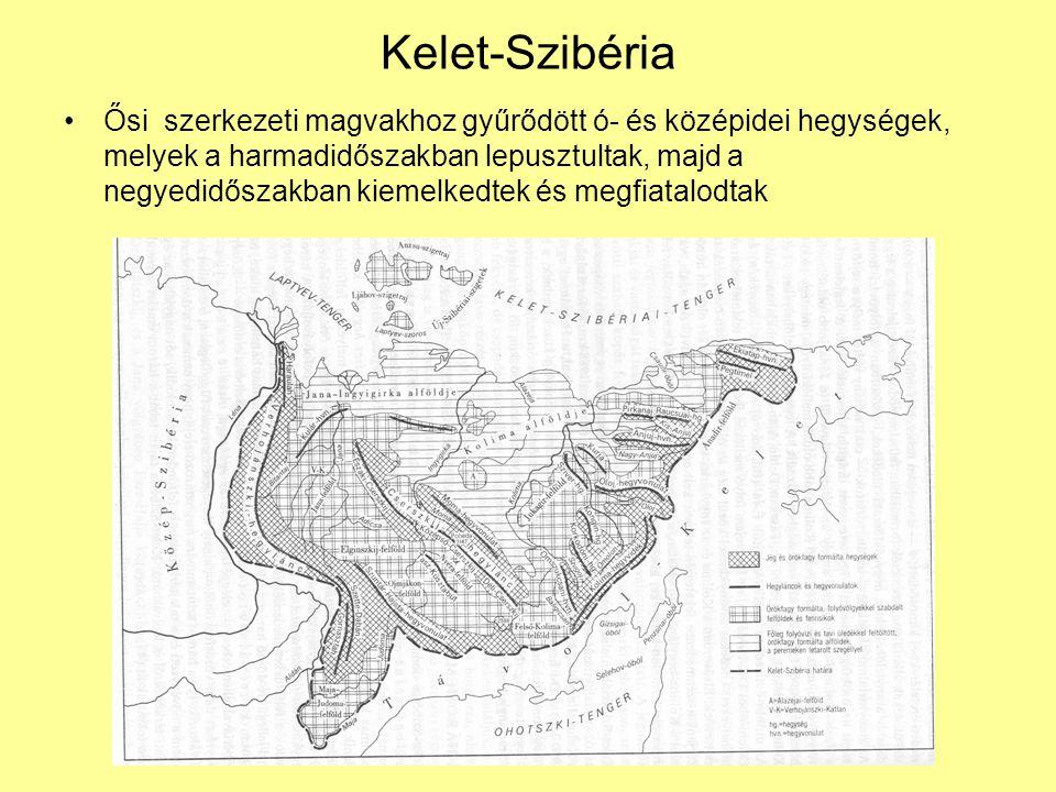 Kelet-Szibéria Ősi szerkezeti magvakhoz gyűrődött ó- és középidei hegységek, melyek a harmadidőszakban lepusztultak, majd a negyedidőszakban kiemelked