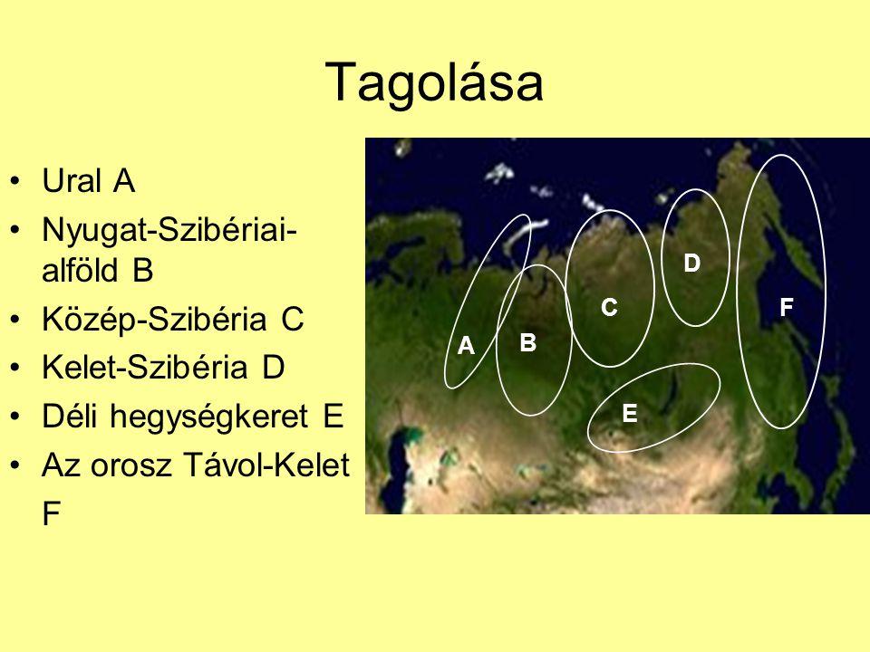 Tagolása Ural A Nyugat-Szibériai- alföld B Közép-Szibéria C Kelet-Szibéria D Déli hegységkeret E Az orosz Távol-Kelet F A B C D E F