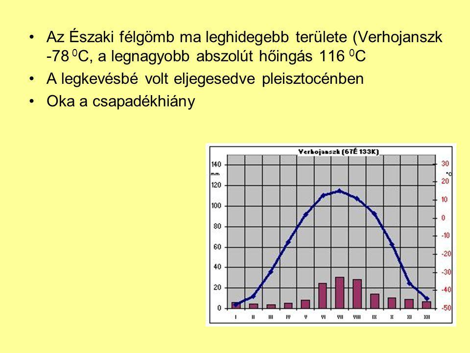 Az Északi félgömb ma leghidegebb területe (Verhojanszk -78 0 C, a legnagyobb abszolút hőingás 116 0 C A legkevésbé volt eljegesedve pleisztocénben Oka