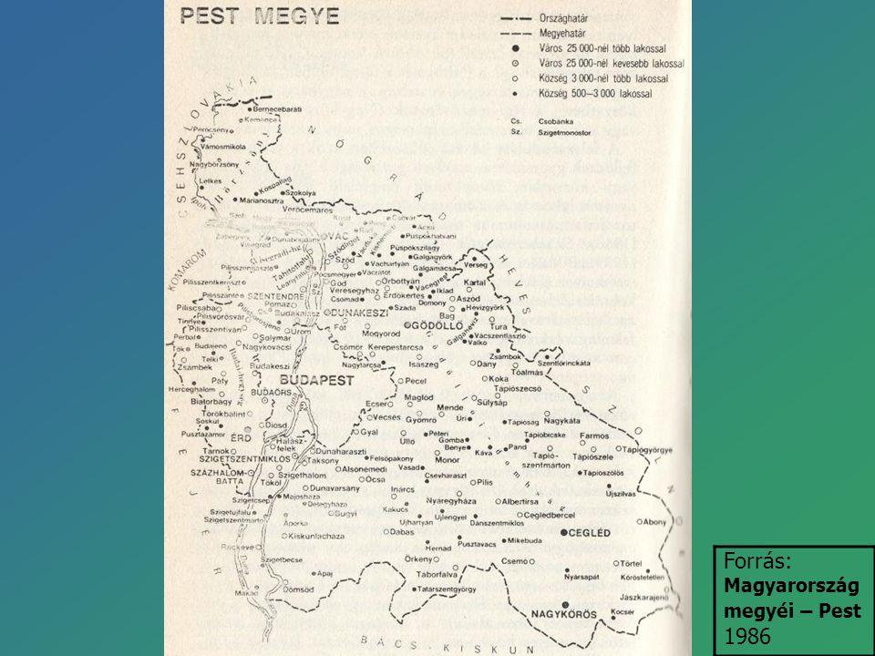 Forrás: Magyarország megyéi – Pest 1986