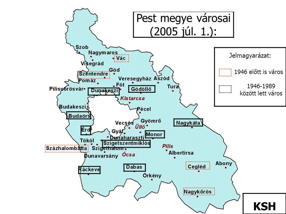 Pest megye városai (2005 júl. 1.): KSH 1946 előtt is város 1946-1989 között lett város Jelmagyarázat: