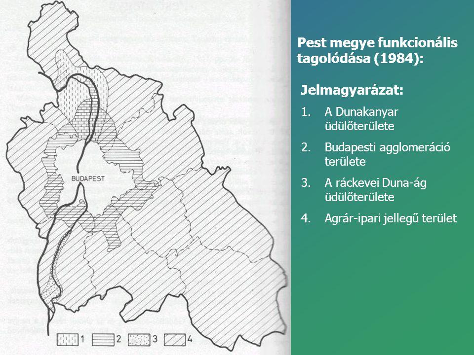 Pest megye funkcionális tagolódása (1984): Jelmagyarázat: 1.A Dunakanyar üdülőterülete 2.Budapesti agglomeráció területe 3.A ráckevei Duna-ág üdülőter