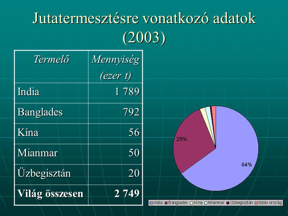 Jutatermesztésre vonatkozó adatok (2003) TermelőMennyiség (ezer t) India 1 789 Banglades792 Kína56 Mianmar50 Üzbegisztán20 Világ összesen 2 749