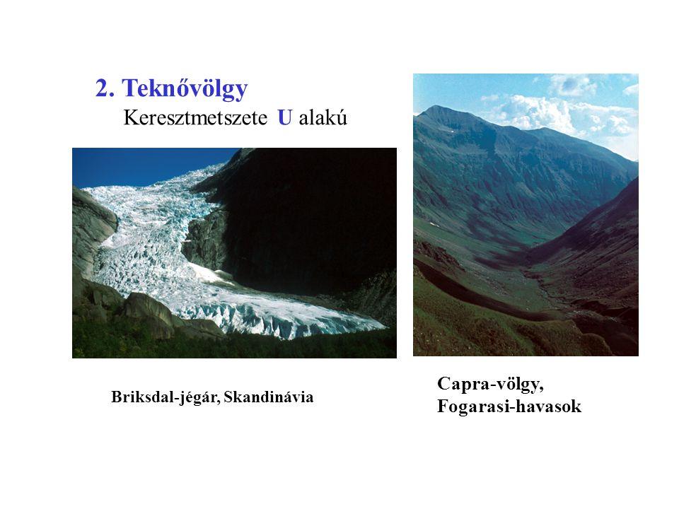 Briksdal-jégár, Skandinávia Capra-völgy, Fogarasi-havasok 2. Teknővölgy Keresztmetszete U alakú