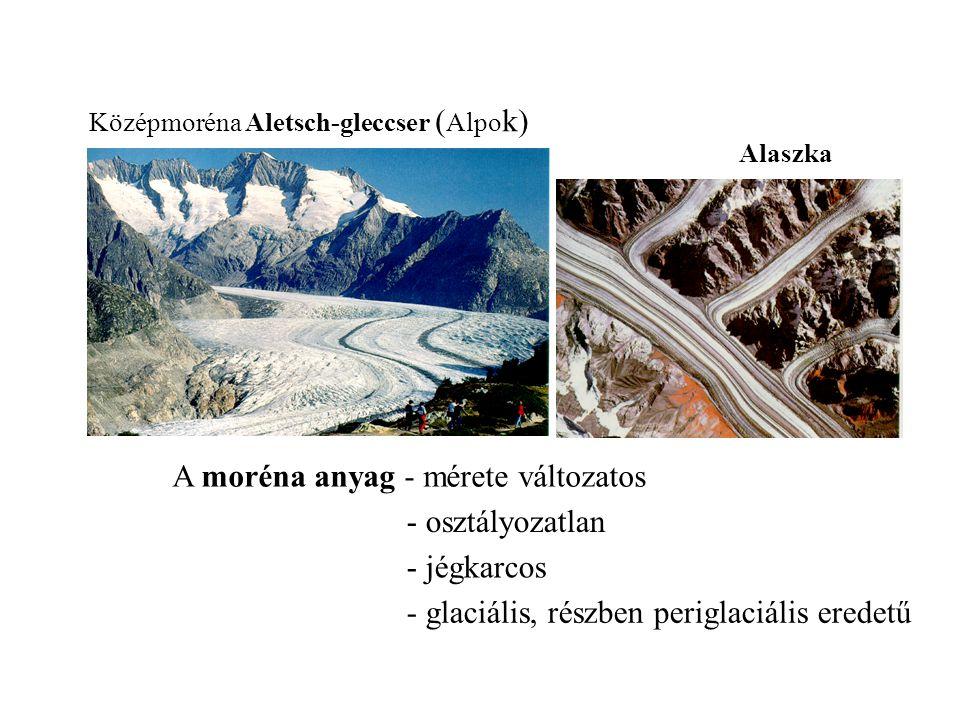 Középmoréna Aletsch-gleccser ( Alpo k) A moréna anyag - mérete változatos - glaciális, részben periglaciális eredetű - jégkarcos - osztályozatlan Alas