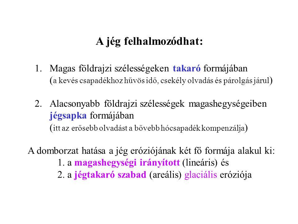 I.A MAGASHEGYSÉGI JÉG MUNKÁJA A. Eróziós formák : 1.