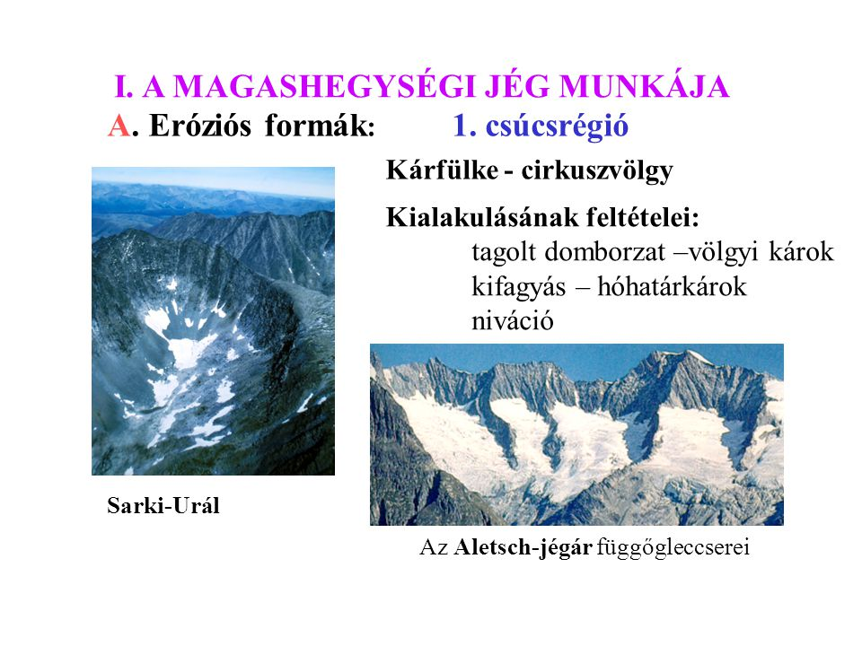 I. A MAGASHEGYSÉGI JÉG MUNKÁJA A. Eróziós formák : 1. csúcsrégió Kárfülke - cirkuszvölgy Kialakulásának feltételei: tagolt domborzat –völgyi károk kif
