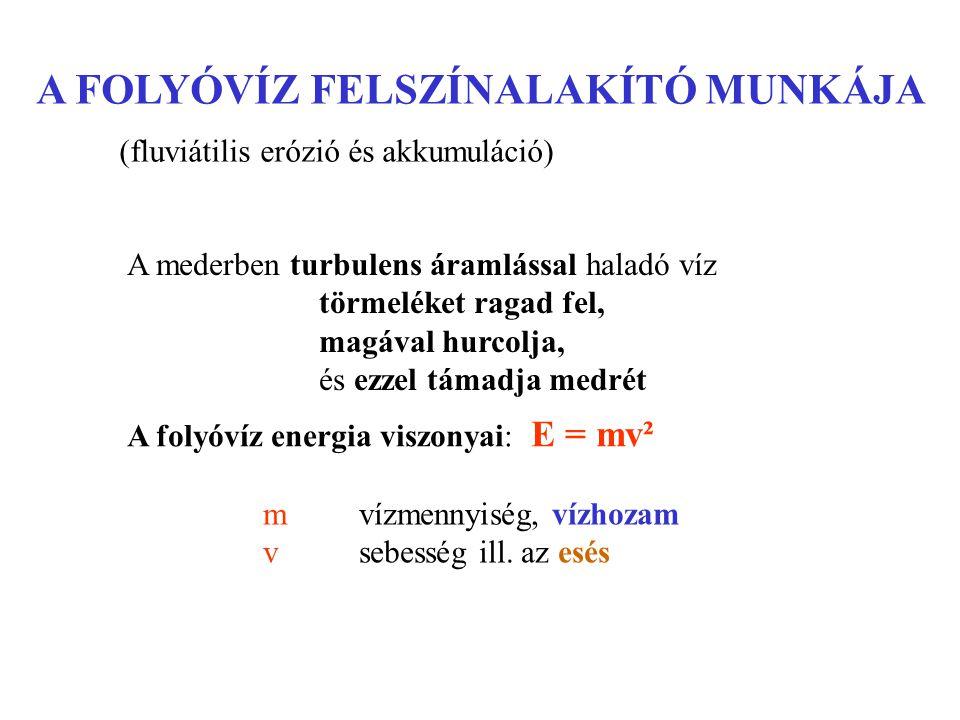 Esésgörbe: tényleges: konkáv, konkavo-konvex, lépcsőzött elméleti: normál, egyensúlyi Erózióbázis : abszolút (tengerszint) helyi (főfolyó – tó)