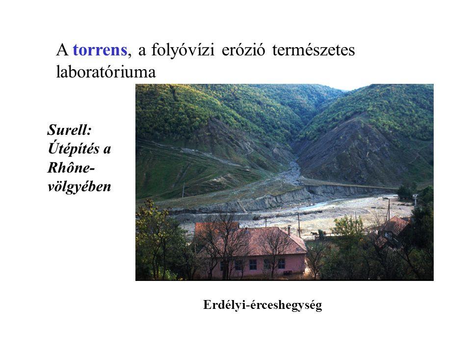 A folyók szakaszjellege a/ Felsőszakasz-jelleg → M > E → Medermélyítés álterasz kőzetminőség, völgyoldal meredeksége; Cholnoky Jenő: Munkavégzőképesség (M) – elvégzendő munka (E) aránya V alakú völgyek,