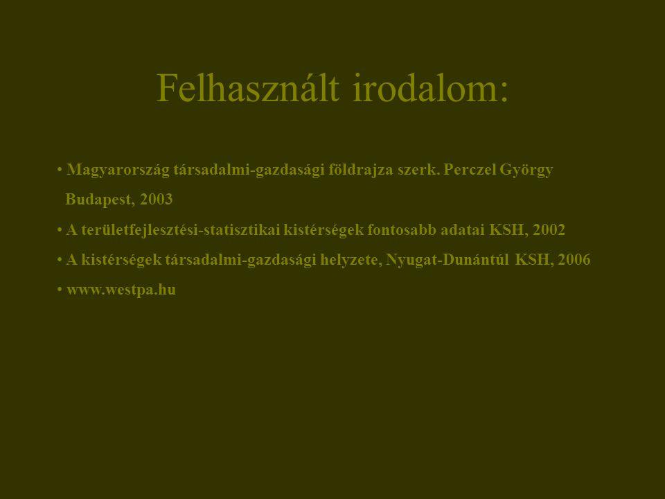 Felhasznált irodalom: Magyarország társadalmi-gazdasági földrajza szerk. Perczel György Budapest, 2003 A területfejlesztési-statisztikai kistérségek f