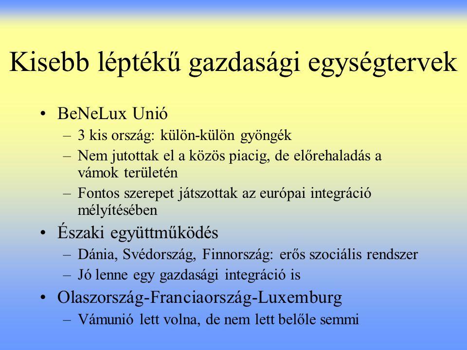 Kisebb léptékű gazdasági egységtervek BeNeLux Unió –3 kis ország: külön-külön gyöngék –Nem jutottak el a közös piacig, de előrehaladás a vámok terület