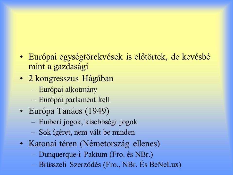 Európai egységtörekvések is előtörtek, de kevésbé mint a gazdasági 2 kongresszus Hágában –Európai alkotmány –Európai parlament kell Európa Tanács (194