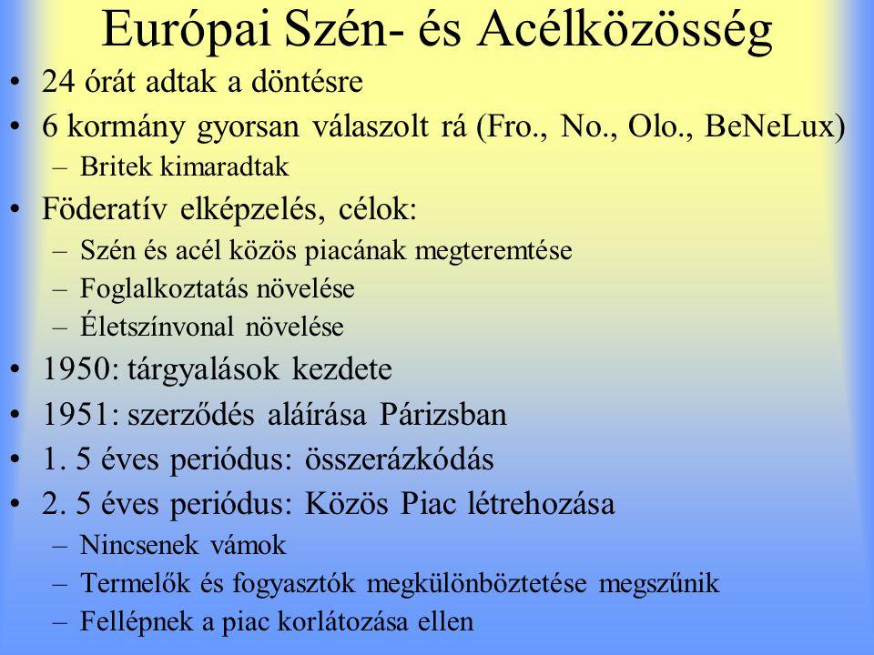 Európai Szén- és Acélközösség 24 órát adtak a döntésre 6 kormány gyorsan válaszolt rá (Fro., No., Olo., BeNeLux) –Britek kimaradtak Föderatív elképzel