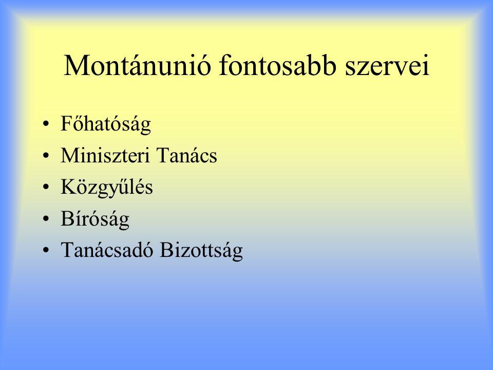 Montánunió fontosabb szervei Főhatóság Miniszteri Tanács Közgyűlés Bíróság Tanácsadó Bizottság