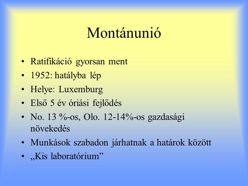 Montánunió Ratifikáció gyorsan ment 1952: hatályba lép Helye: Luxemburg Első 5 év óriási fejlődés No. 13 %-os, Olo. 12-14%-os gazdasági növekedés Munk