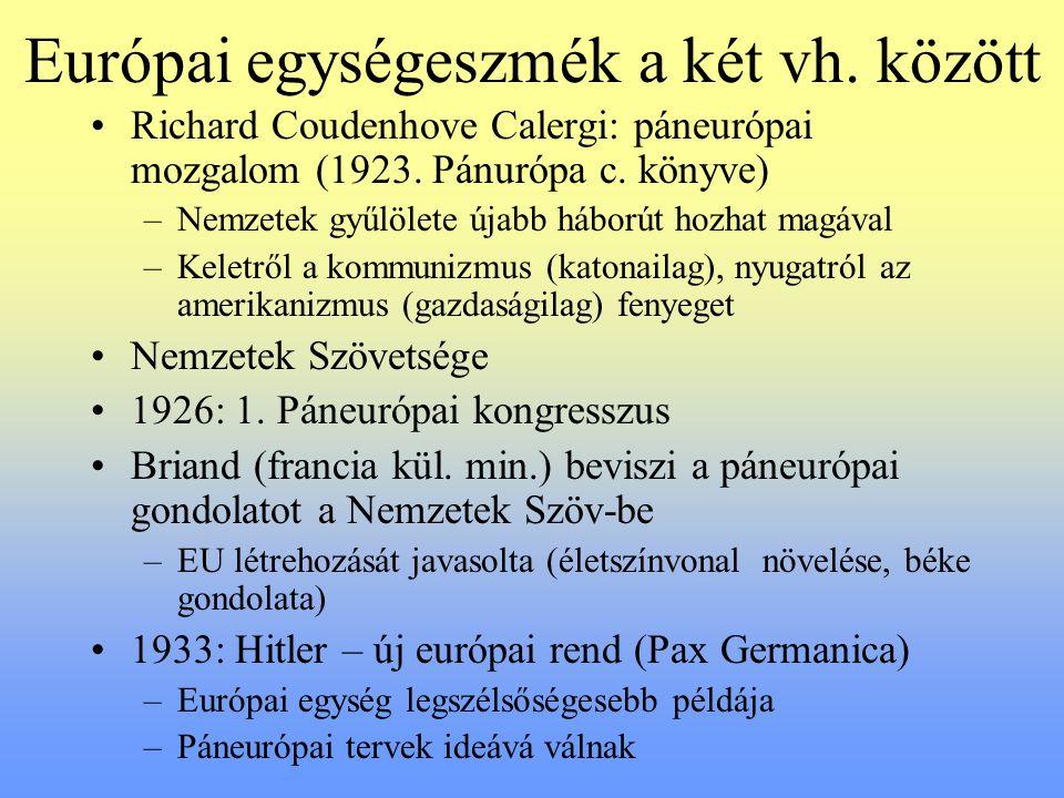 Európai egységeszmék a két vh. között Richard Coudenhove Calergi: páneurópai mozgalom (1923. Pánurópa c. könyve) –Nemzetek gyűlölete újabb háborút hoz