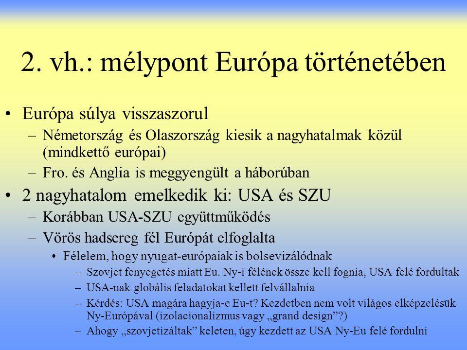 2. vh.: mélypont Európa történetében Európa súlya visszaszorul –Németország és Olaszország kiesik a nagyhatalmak közül (mindkettő európai) –Fro. és An