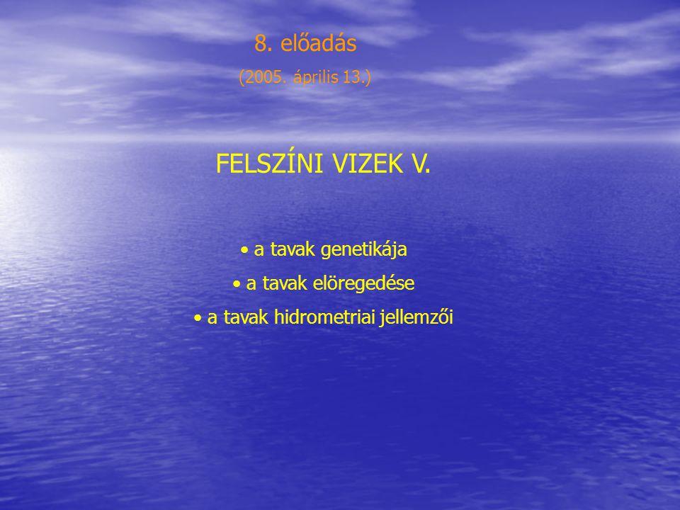 A tavak genetikai típusai 1.Tektonikus tavak (Bajkál, Kaszpi, Albert, Edward, Tanganyika, Rudolf, Balaton, Velencei-tó) 2.