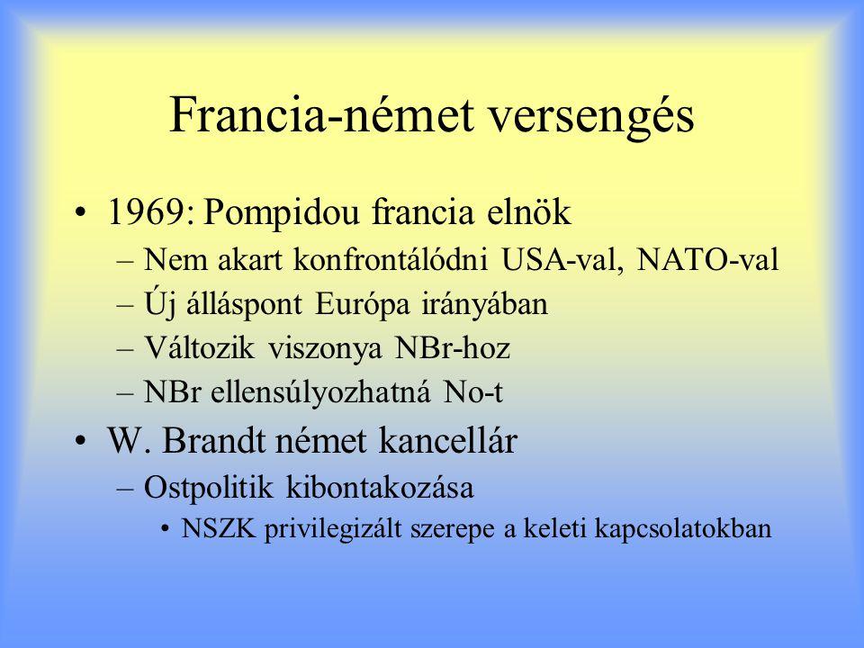 Francia-német versengés 1969: Pompidou francia elnök –Nem akart konfrontálódni USA-val, NATO-val –Új álláspont Európa irányában –Változik viszonya NBr