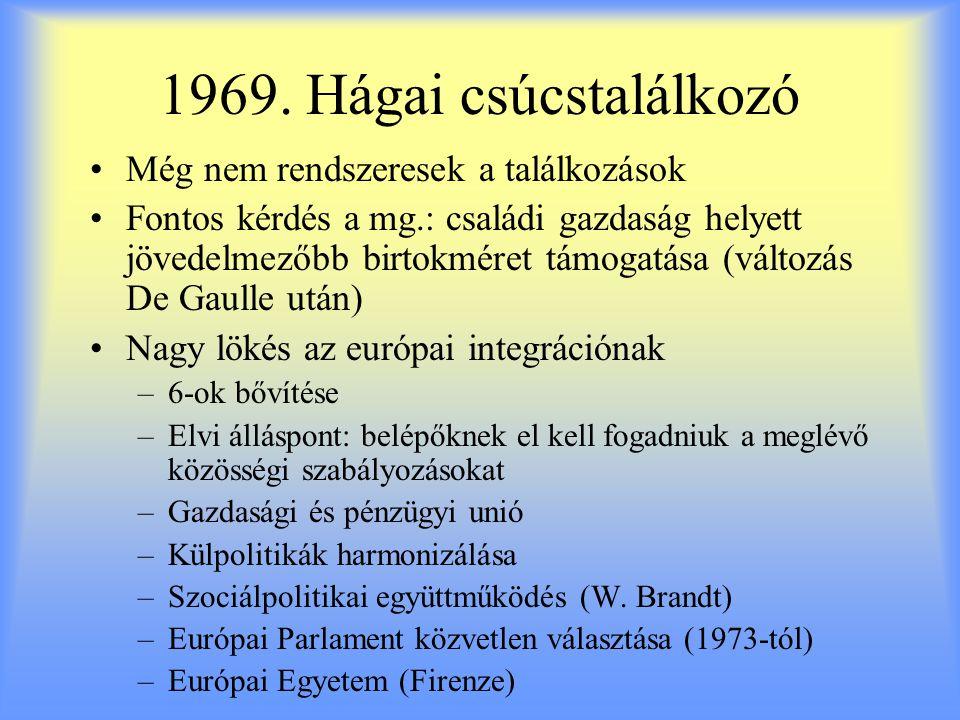 1969. Hágai csúcstalálkozó Még nem rendszeresek a találkozások Fontos kérdés a mg.: családi gazdaság helyett jövedelmezőbb birtokméret támogatása (vál