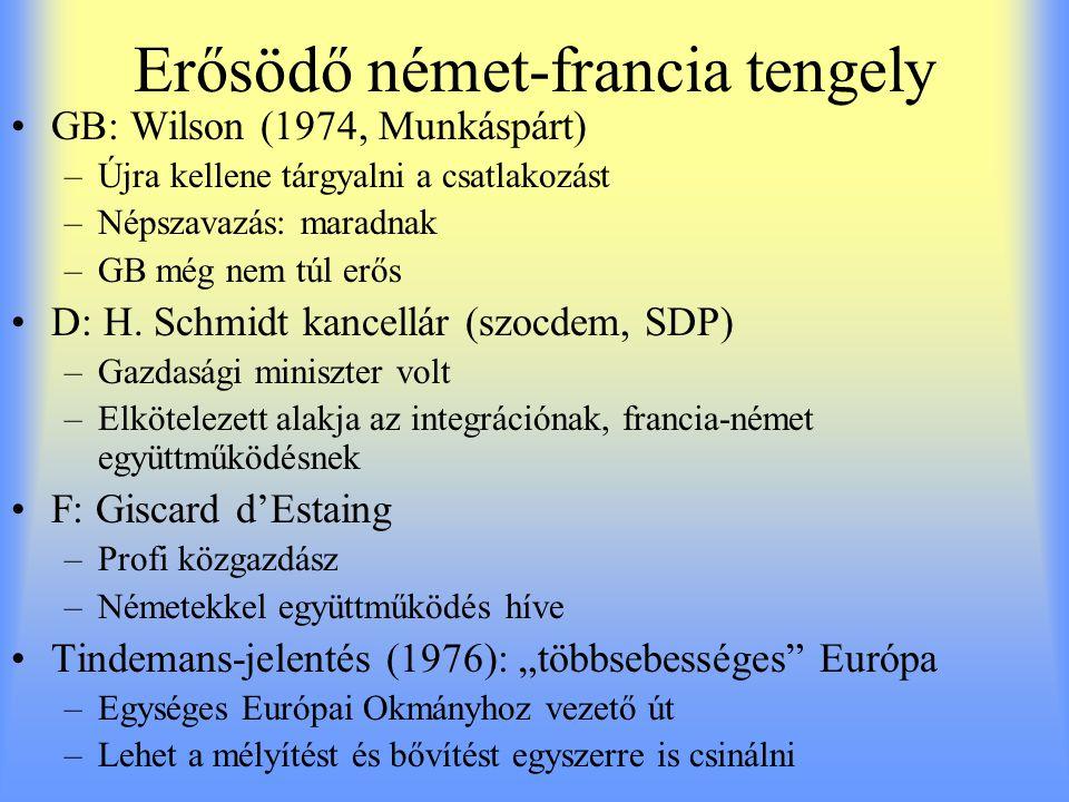 Erősödő német-francia tengely GB: Wilson (1974, Munkáspárt) –Újra kellene tárgyalni a csatlakozást –Népszavazás: maradnak –GB még nem túl erős D: H. S